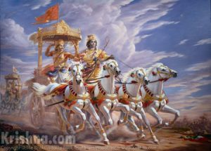 Krishna drives chariot in the Mahabharata